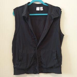 Armani Exchange Black Vest Distressed Detail Shirt